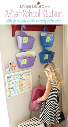 After School Station with Cute Free Printable Weekly Calendars by LivingLocurto.com