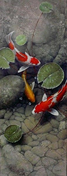 Terry Gilecki is a highly aclaimed painter of the beautiful Koi fish and the surreal world they live in. Koi Fish Pond, Fish Ponds, Koi Art, Fish Art, Koi Painting, Stone Painting, Floor Murals, Japanese Koi, Beautiful Fish