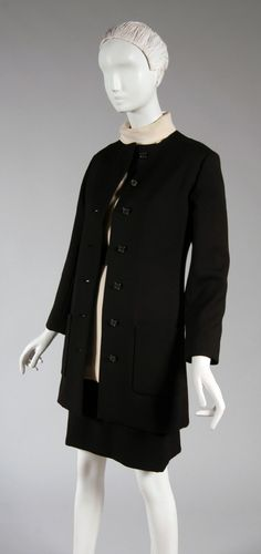 1960, America - Woman's Suit: Jacket, Skirt and Blouse by Gustave Tassell - Jacket and Skirt: fine black wool; Blouse: white wool crepe