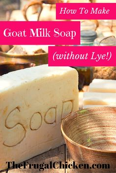 Using a melt and pour soap base, you can easily make your own custom goat milk soaps without handling lye. Watch the video to learn how. From FrugalChicken