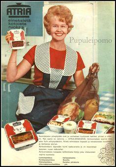 Arkistojeni kätköistä kauniita, pääosin värillisiä mainoksia huhti- sekä kesäkuun Kotiliesilehdistä 52 vuoden takaa. ... Retro Advertising, Vintage Advertisements, Vintage Ads, Vintage Housewife, Domestic Goddess, Old Recipes, Old Ads, Finland, Nostalgia