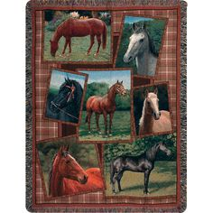 Weavers Manual Horsing Around color Tapestry Throw