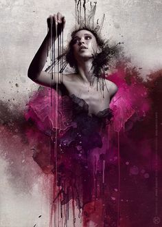 One of Jarostaw Kubicki's amazing mixed media artworks. I love the contrast between the bright, fun pink and the darker, more sombre areas.