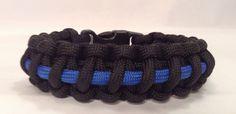 Police Thin Blue Line Tactical Paracord Survival Bracelet  -  Black 550 Paracord Bracelet with Thin Royal Blue Line
