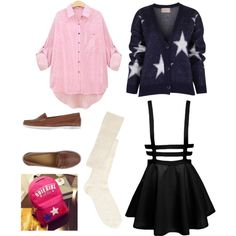 school uniform by pinkmitta on Polyvore featuring polyvore fashion style ASOS Lumberjack Crystal