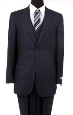 Product#SM333 Reg:795 on Online Sale $249 3PC Wool Fabric Suit Two button Vested Peak Pointed English Style Lapel Blac