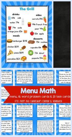 FREEBIE Menu Math, word problem cards, task cards for & grade math students Math Card Games, Math Task Cards, Math Problem Solving, Solving Equations, Fourth Grade Math, 5th Grade Math Games, Third Grade, Math Tutor, Amigurumi