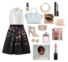 """Celeb Style"" by krieschl2003 ❤ liked on Polyvore featuring Ted Baker, Chicwish, Jimmy Choo, Givenchy, J.Crew, Carolee, Oasis, Christian Dior, OPI and Chanel"