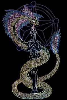 A great use of symbolism and hints of eastern influences. The style of colored lines emphasizes the form as something. spiritual, often associated with the mind Mythological Creatures, Mythical Creatures, Tatouage Kundalini, Quetzalcoatl Tattoo, Esoteric Art, Legends And Myths, Fractal Design, Gods And Goddesses, Gel Pens