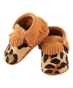 Look at this #zulilyfind! Tan Fringe Leopard Calf Hair Booties by first steps #zulilyfinds