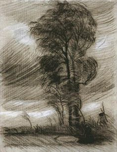 Vincent van Gogh, Landscape in Stormy Weather, 1885,  black chalk.