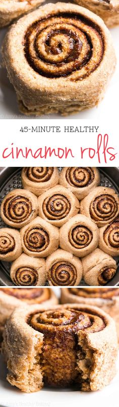 45-Minute Healthy Cinnamon Rolls -- my family called these the BEST they've ever had! Just 105 calories but they don't taste healthy at all!