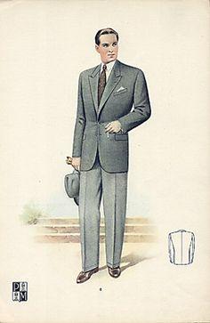 1940s Men's Fashion | Above: Men's golf and ski fashions