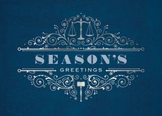 The scales of justice and a judges gavel are included in this design set above and below a season's greetings wish. Perfect for those in the legal profession. Now 30% off