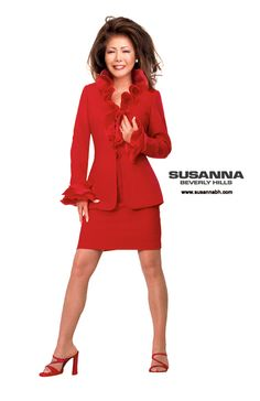 Luxury Haute couture high society red evening dress suit for women. This bright red women's jacket with ruffle accents is an elegant look for the modern sophisticated woman. Available custom made and ready to wear at Susanna Beverly Hills boutique in Beverly Hills. See more of the Susanna Beverly Hills Fall 2013 Collection featuring the Famous Pantsuit at www.Susannabh.com