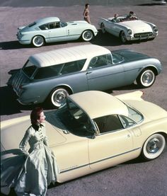Corvette show cars: Corvair fastback coupe, Convertible, Nomad wagon, Coupe (1954)