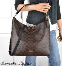 NWT COACH Celeste Signature Brown Black Coated Canvas Leather Hobo Bag F34910 #Coach #Hobo