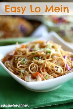Easy Lo Mein-  Delicious!!  I happen to have coleslaw mix from another recipe so I made this with some small frozen shrimp I had.  Tasted like take out chinese, and was easy to throw together.
