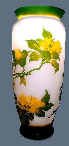 RARE MONUMENTAL CAMEO VASE**GALLE**FRENCH**ART NOUVEAU, GREENS & YELLOWS picclick.com