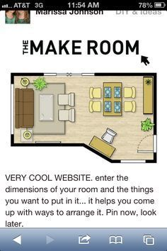 VERY COOL WEBSITE. enter the dimensions of your room and the things you want to put in it helps you come up with ways to arrange design home design house design interior design house design