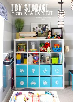 Toy Storage in an IKEA Expedit  (I love her site!)
