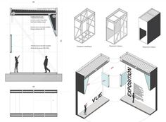 Proposal for an Urban Itinerary / Comac Architects a set of drawings with sections and plan oblique