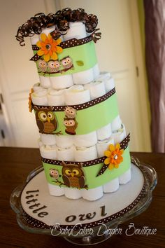 Little Brown Owl  Gender Neutral Diaper Cake  by BabyCakesByDaisy, $61.50