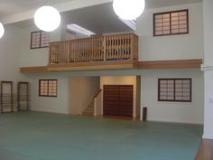 Dojo with balcony Karate Dojo, Aikido, Tennis Players, Judo, Martial Arts, Balcony, House, Taekwondo, Display Ideas