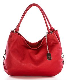 Love this Red Slouchy Leather Shoulder Bag on #zulily! #zulilyfinds