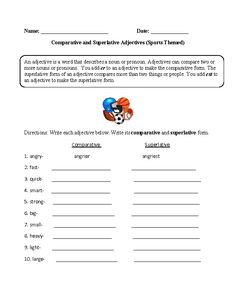 Sports Themed Comparative and Superlative Adjectives Worksheet