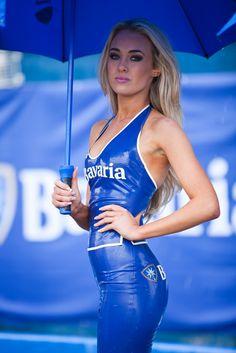 NIcola Hughes   grid girl   blue latex