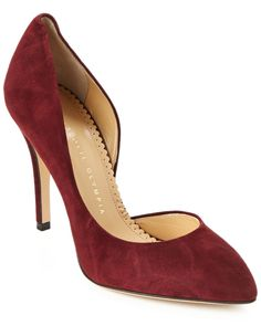 Charlotte Olympia The Lady is a Vamp Suede Partial d'Orsay Pump