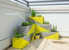 colorful DIY cinder block planters by cornelia