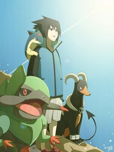 Sasuke and Pokémon!! Omg this is just too cute!! :'D   http://ceal-sakura-ai.deviantart.com/