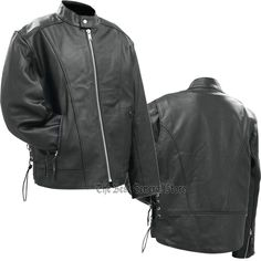 Mens Black Solid Leather Motorcycle Cruiser Jacket with Nehru Collar Side Laces #RockyMountainHides #Motorcycle