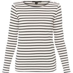 Weekend MaxMara Rabbino White And Black Striped Cotton Sweater ($150) ❤ liked on Polyvore featuring tops, sweaters, stripes, long sleeve sweater, pullover sweater, layered sweater, stripe sweaters and sweater pullover