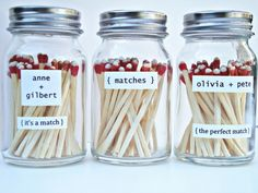 A DIY tutorial on how to make these cute favors using spice jars, 220-B sand paper, strike anywhere matches, etc.