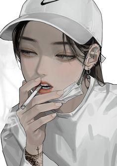 Dark Anime Girl, Manga Anime Girl, Cool Anime Girl, Beautiful Anime Girl, Manga Art, Anime Girl Drawings, Digital Art Anime, Digital Art Girl, Girl Cartoon