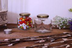 Βαζάκι Γυάλινο Quadro 212ml ΒΤΣ027 Mason Jars, Mason Jar, Jars