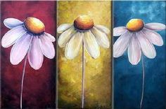 cuadros de flores para dormitorios lindo triptico de margaritas