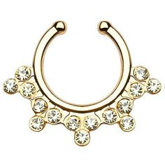 1pc Non-Piercing Snowflake Gem Septum Hanger Clip-On Fake Nose Ring... ($5.99) ❤ liked on Polyvore featuring jewelry, clear crystal jewelry, gemstone jewellery, clear jewelry, gemstone jewelry and gem jewelry