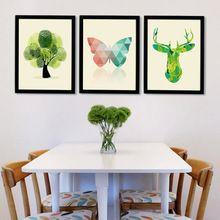 Cópia Da Arte Do Cartaz Da Lona moderna Pintura A Óleo Da Lona por Números Borboleta Veados Árvore de Parede Pictures para Sala de estar, sem Quadros(China (Mainland))