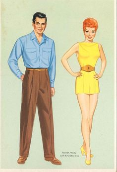 lucy & ricky paper dolls (two dolls)
