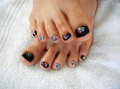 Glitter toe nail designs