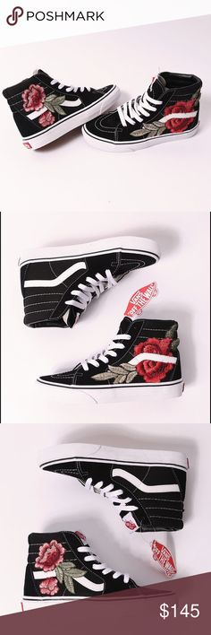 Custom rose patch Vans sk8-hi More details and sizes on my website at www.iamkoko.la ⚡ price $115! Made to order Vans Shoes Sneakers