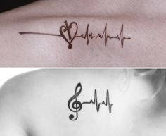 Heartbeat tattoos with music notes and cross