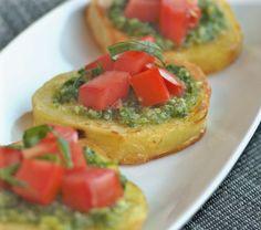 Potato Bruschetta Recipe Appetizers with potatoes, extra-virgin olive oil, fine sea salt, pesto, tomatoes, extra-virgin olive oil, fresh basil
