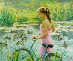 A arte do Pintor Vladimir Gusev Russian Painting, Russian Art, Painting Art, Vida Animal, Frank Dicksee, Hyper Realistic Paintings, Franz Kline, Bicycle Race, Portraits