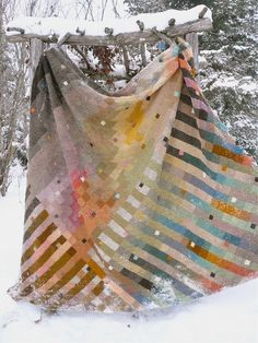 This  beautifully blended, awe inspiring knitted blanket, is by Mona Abdel-Rahman.
