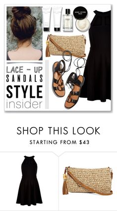 """""""Lace-Up Sandals"""" by cadetartemis ❤ liked on Polyvore featuring New Look, Straw Studios, Rosetta Getty, Bobbi Brown Cosmetics, contestentry, laceupsandals and PVStyleInsiderContest"""